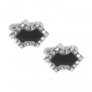 Cufflink Silver & Black with stone